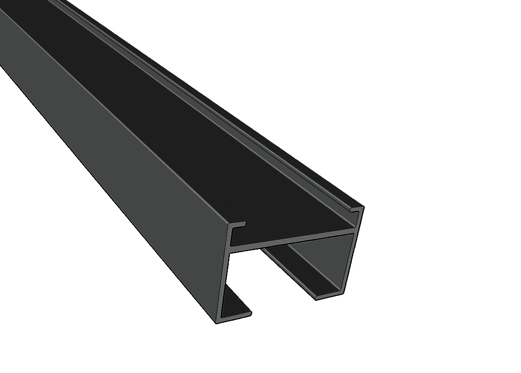 Bamboe onderregel 40x60mm Aluminium Zwart